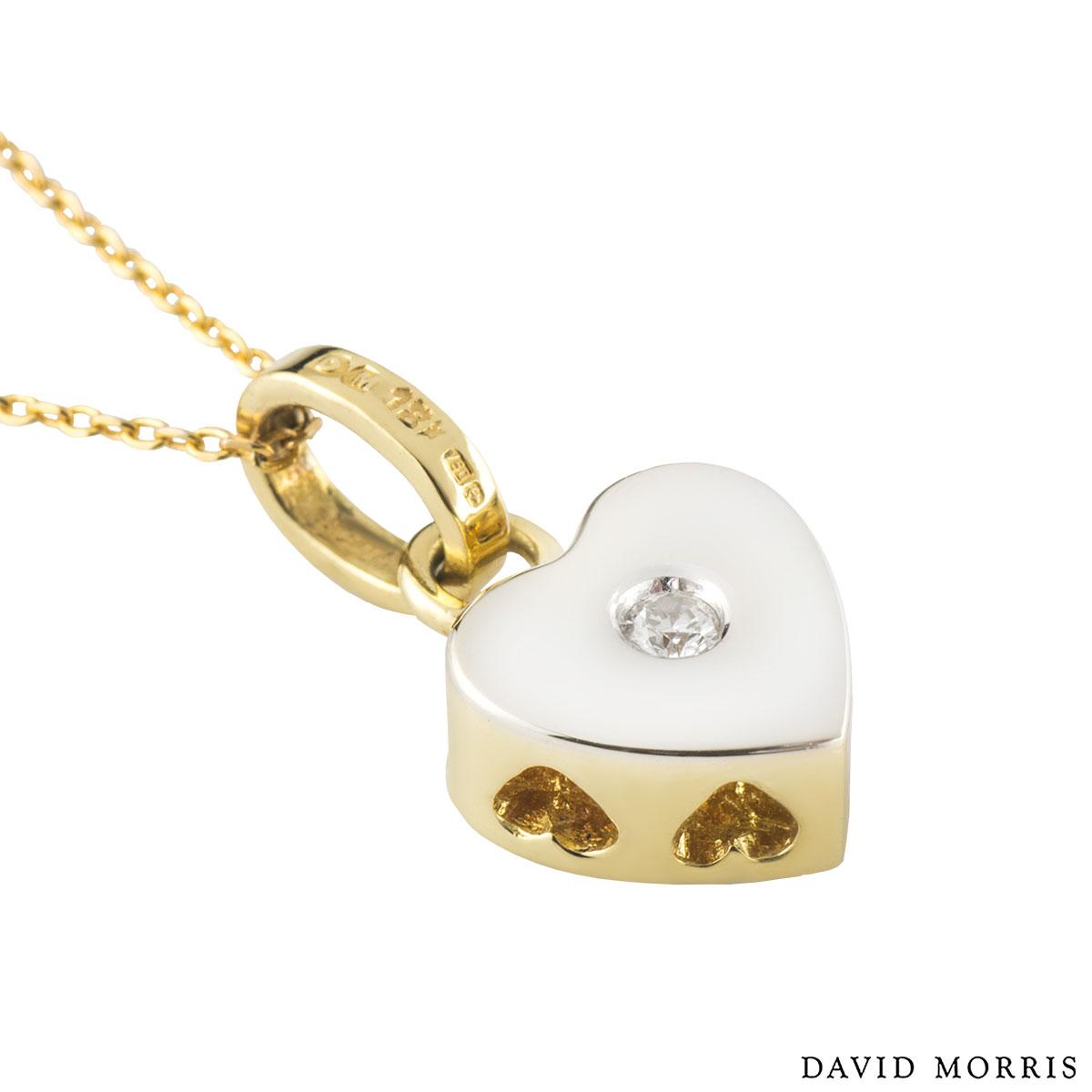 David Morris Yellow Gold Heart Diamond Pendant 0.05ct F/VS+